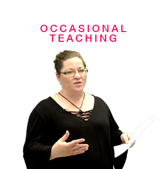 Occasional Teaching section with teacher holding assessment tool